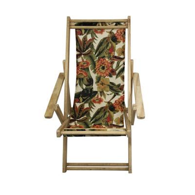 Cadeira Espriguiçadeira Em Madeira Natural Laranja E Verde