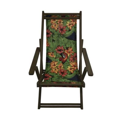 Cadeira Espriguiçadeira Em Madeira Imbuia Florida Com Araras
