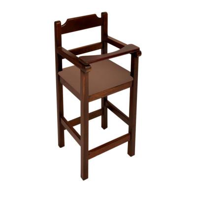 Cadeira Bebe De Madeira Com Trava Com Assento Estofado Marrom - Imbuia