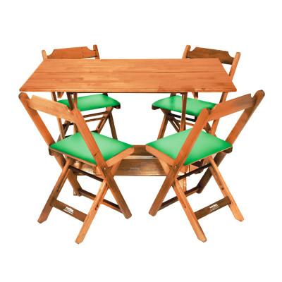 Jogo De Mesa Dobravel De Madeira 120x70 Com 4 Cadeiras Natural Estofado Verde