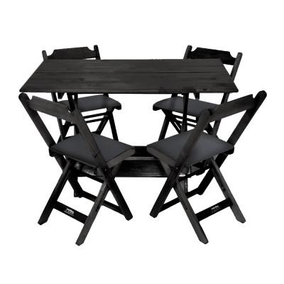 Conjunto De Mesa Dobravel De Madeira 120x70 Com 4 Cadeiras Preto Estofado Preto