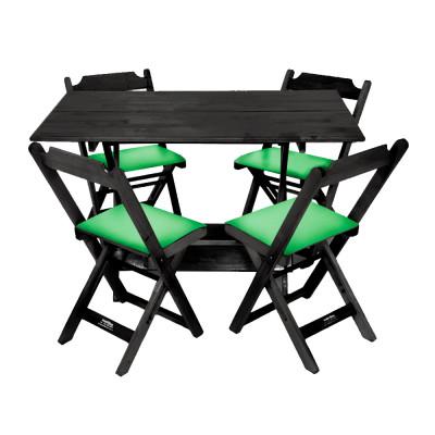 Conjunto De Mesa Dobravel De Madeira 120x70 Com 4 Cadeiras Preto Estofado Verde