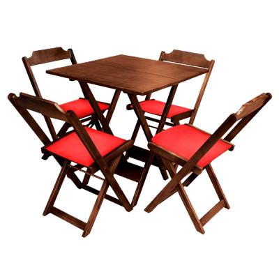 Conjunto De Mesa Dobravel De Madeira 70x70  Com 4 Cadeiras Imbuia Estofado Vermelho