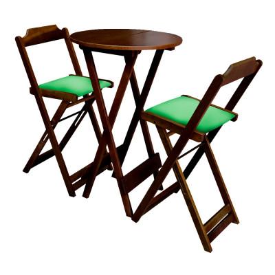 Jogo Bistro De Madeira Dobravel Redondo 55cm Diametro Com 2 Cadeiras Imbuia Estofado Verde