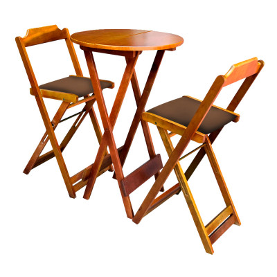 Conjunto Bistro De Madeira Dobravel Redondo 55cm Diametro Com 2 Cadeiras Natural Estofado Marrom