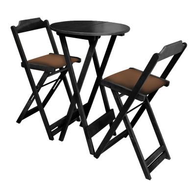 Conjunto Bistro De Madeira Dobravel Redondo 55cm Diametro Com 2 Cadeiras Preto Estofado Marrom
