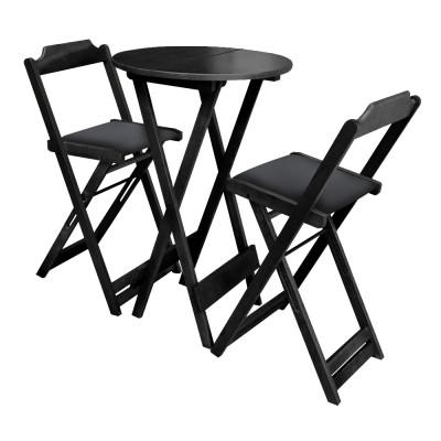 Conjunto Bistro De Madeira Dobravel Redondo 55cm Diametro Com 2 Cadeiras Preto Estofado Preto
