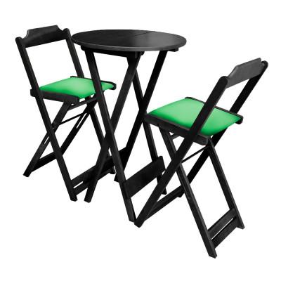 Conjunto Bistro De Madeira Dobravel Redondo 55cm Diametro Com 2 Cadeiras Preto Estofado Verde