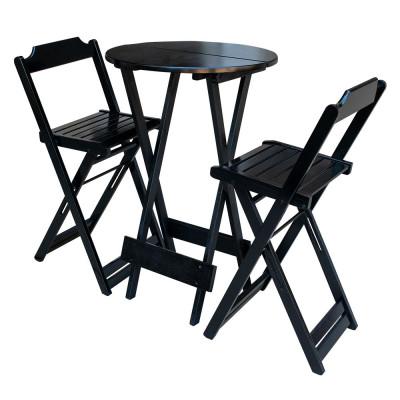 Jogo  Bistro De Madeira Dobravel Redondo 55cm Diametro C/2 Cadeiras Preto
