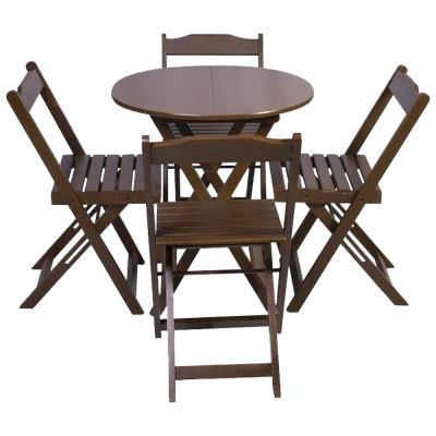 Jogo De Mesa Dobravel De Madeira 90cm Redondo Com 4 Cadeiras Imbuia