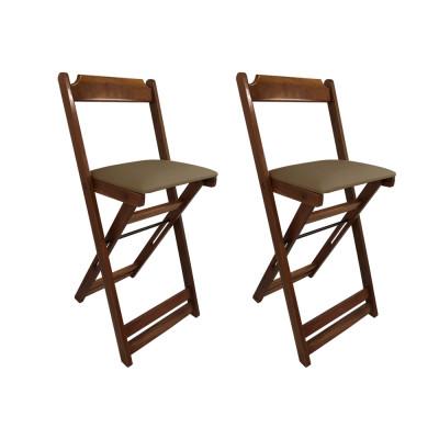 Kit 2 Cadeiras Bistro Dobravel De Madeira Estofada Marrom - Imbuia