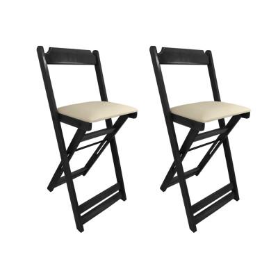 Kit 2 Cadeiras Bistro Dobravel De Madeira Estofada Bege - Preto