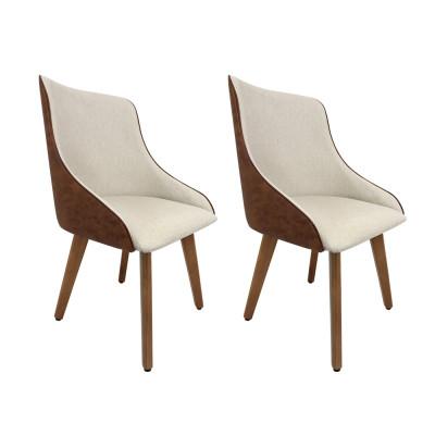 Kit 2 Cadeiras Estofadas Catânia Moderna Premium Em Couro Sintético E Tecido
