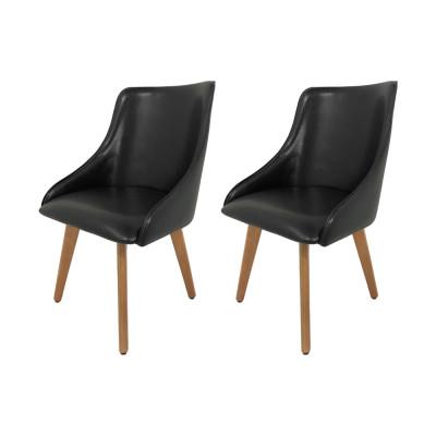 Kit 2 Cadeiras Estofadas Catânia Premium Moderna Em Couro Sintético Preto