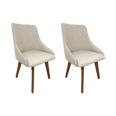 Kit 2 Cadeiras Estofadas Catânia Premium Moderna Em Tecido Branco