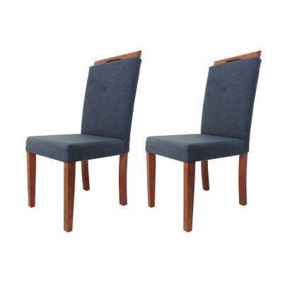 Kit 2 Cadeiras Estofada Genebra Luxo Marinho Tecido
