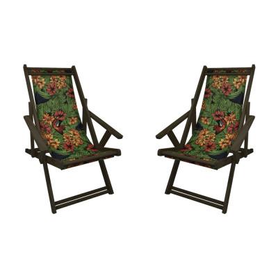 Kit Com 2 Cadeiras Espriguiçadeira Em Madeira Imbuia Florida Com Araras