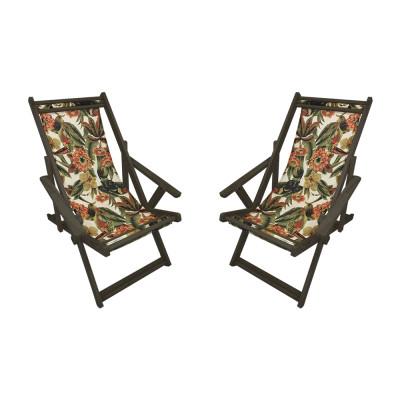 Kit Com 2 Cadeiras Espriguiçadeira Em Madeira Imbuia Laranja E Verde