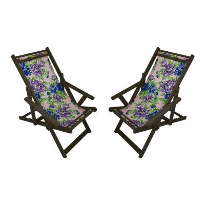 Kit Com 2 Cadeiras Espriguiçadeira Em Madeira Imbuia Lilás