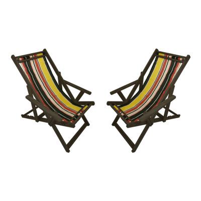 Kit Com 2 Cadeiras Espriguiçadeira Em Madeira Imbuia Listrada