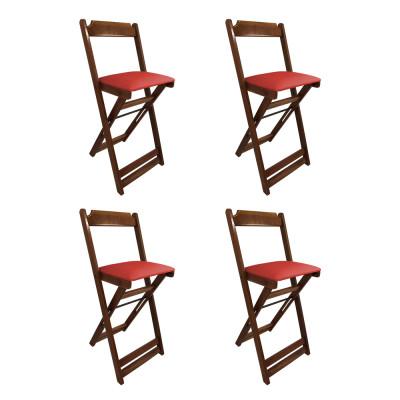 Kit 4 Cadeiras Bistro Dobravel De Madeira Estofada Vermelha - Imbuia