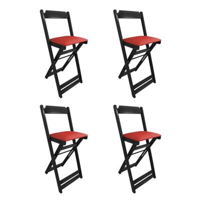 Kit 4 Cadeiras Bistro Dobravel De Madeira Estofada Vermelha - Preto