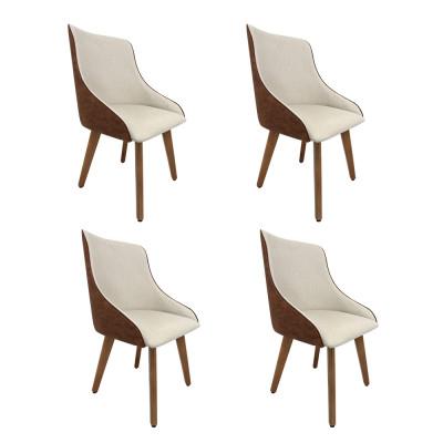 Kit 4 Cadeiras Estofadas Catânia Moderna Premium Em Couro Sintético E Tecido