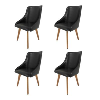 Kit 4 Cadeiras Estofadas Catânia Premium Moderna Em Couro Sintético Preto