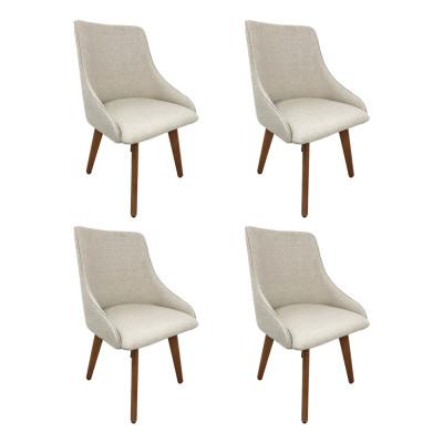 Kit 4 Cadeiras Estofadas Catânia Premium Moderna Em Tecido Branco