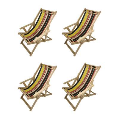 Kit Com 4 Cadeiras Espriguiçadeira Em Madeira Natural Listrada