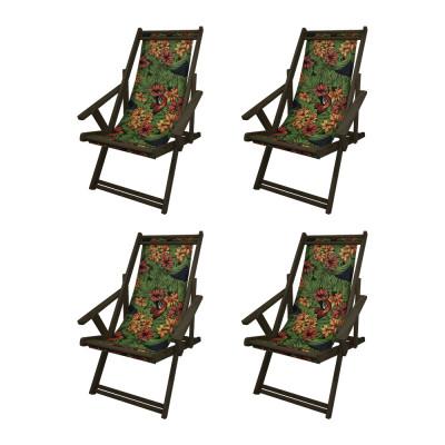 Kit Com 4 Cadeiras Espriguiçadeira Em Madeira Imbuia Florida Com Araras