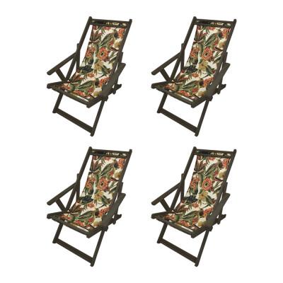 Kit Com 4 Cadeiras Espriguiçadeira Em Madeira Imbuia Laranja E Verde