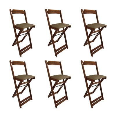 Kit 6 Cadeiras Bistro Dobravel De Madeira Estofada Marrom - Imbuia
