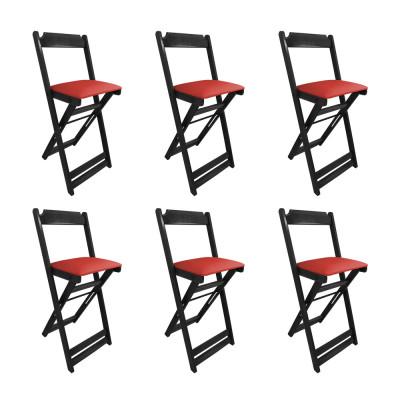 Kit 6 Cadeiras Bistro Dobravel De Madeira Estofada Vermelha - Preto