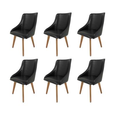 Kit 6 Cadeiras Estofadas Catânia Premium Moderna Em Couro Sintético Preto