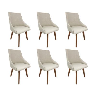 Kit 6 Cadeiras Estofadas Catânia Premium Moderna Em Tecido Branco