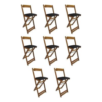 Kit 8 Cadeiras Bistro Dobravel De Madeira Estofada Preta - Natural