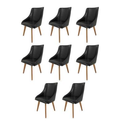 Kit 8 Cadeiras Estofada Catânia Premium Moderna Em Couro Sintético Preto