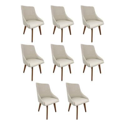 Kit 8 Cadeiras Estofada Catânia Premium Moderna Em Tecido Branco