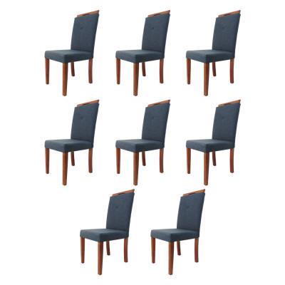Kit 8 Cadeiras Estofada Genebra Luxo Marinho Tecido