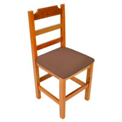 Cadeira Fixa De Madeira Paulista Com Assento Estofado Marrom - Natural