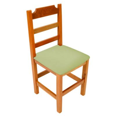 Cadeira Fixa De Madeira Paulista Com Assento Estofado Verde - Natural