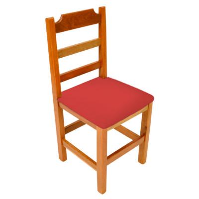 Cadeira Fixa De Madeira Paulista Com Assento Estofado Vermelho - Natural