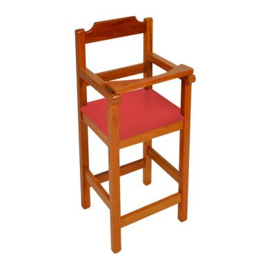 Cadeira Bebe De Madeira Com Trava Com Assento Estofado Vermelho - Natural