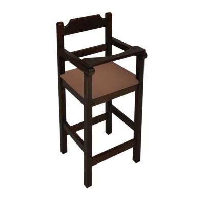 Cadeira Bebe De Madeira Com Trava Com Assento Estofado Marrom - Preto