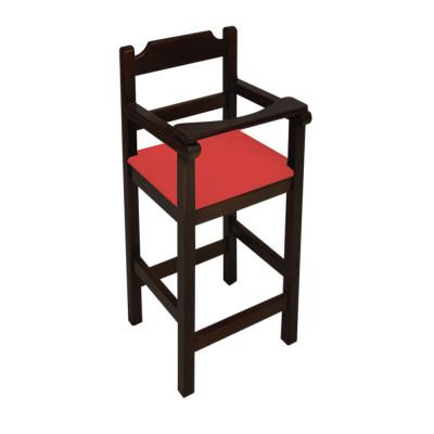 Cadeira Bebe De Madeira Com Trava Com Assento Estofado Vermelho - Preto