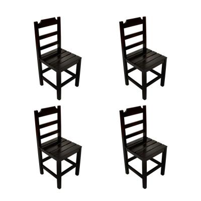 Kit 4 Cadeiras Fixa De Madeira Paulista Com Assento Ripado Preto