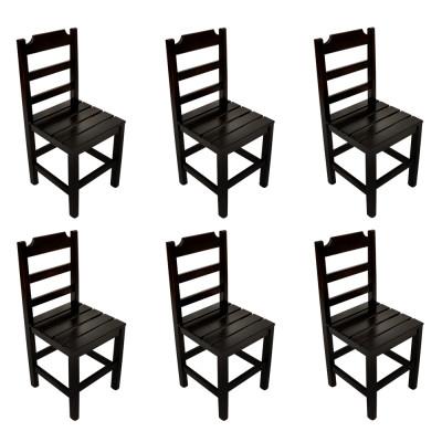 Kit 6 Cadeiras Fixa De Madeira Paulista Com Assento Ripado  Preto