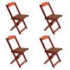 Conjunto De Mesa Dobravel De Madeira 70x70 Com 4 Cadeiras Imbuia Estofado Marrom