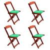 Conjunto De Mesa Dobravel De Madeira 60x60 Com 4 Cadeiras Imbuia Estofado Verde